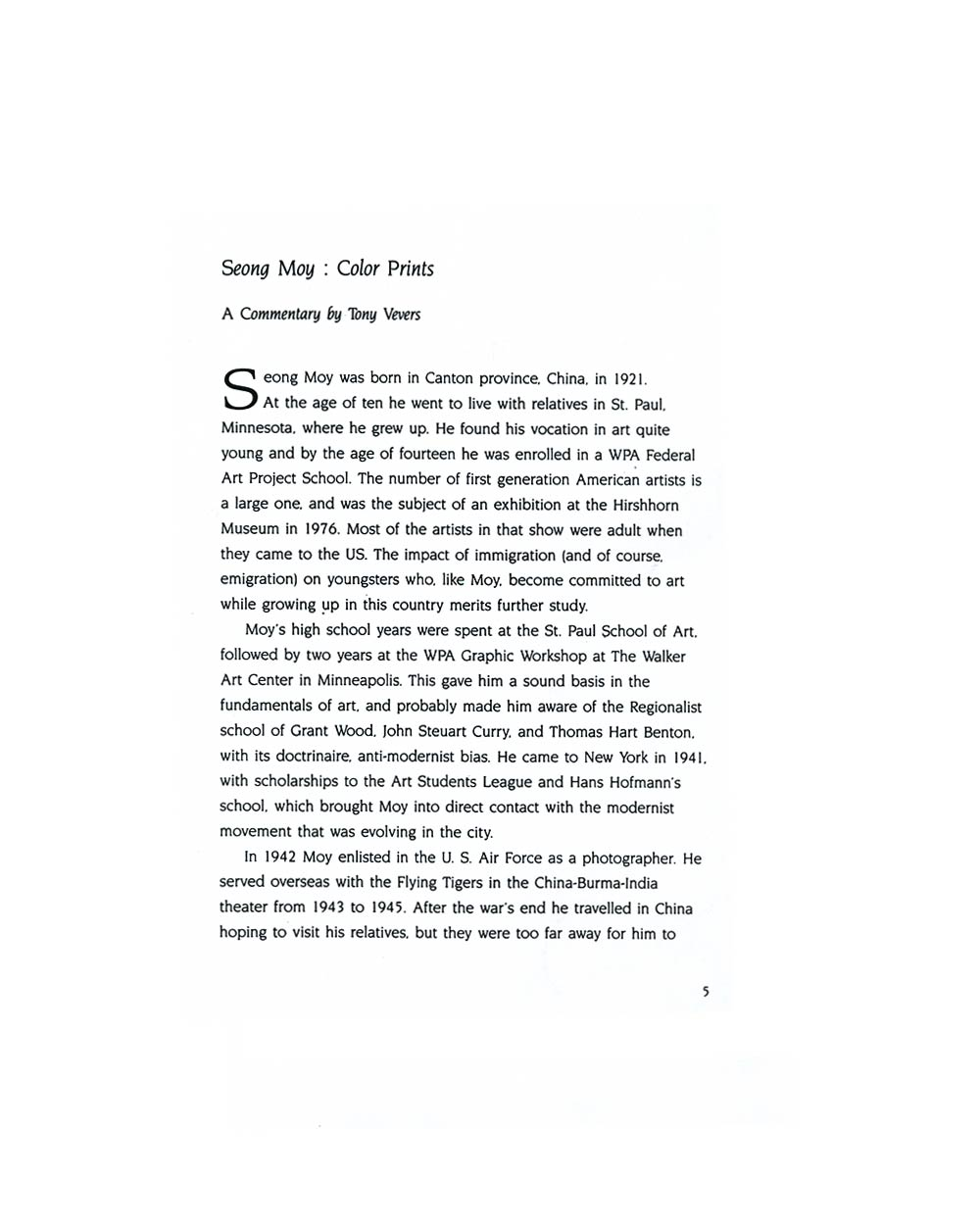 Seong Moy: Color Prints by Tony Vevers, pg 1
