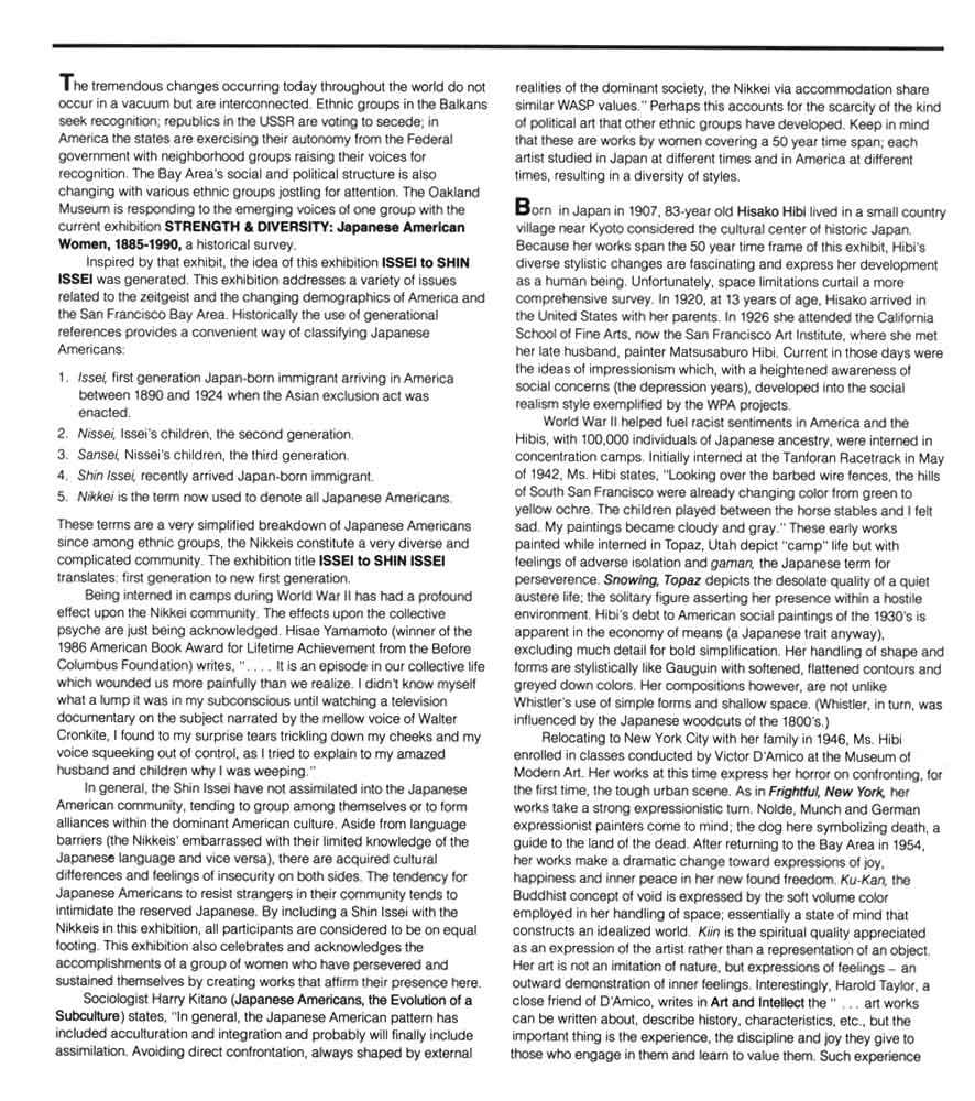 Issei to Shin Issei, essay, pg 1