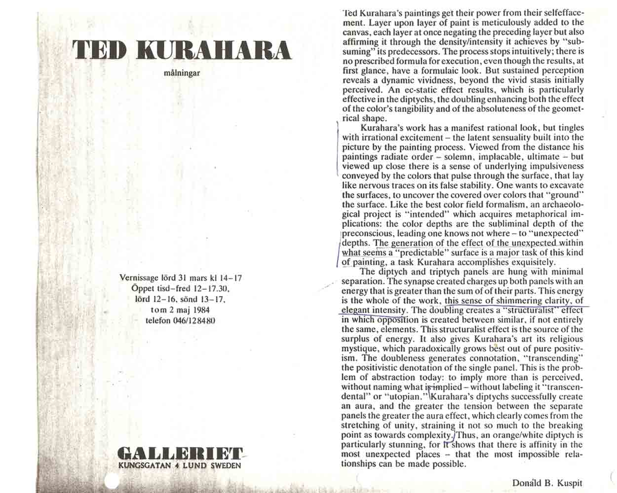 Ted Kurahara: malningar, flyer