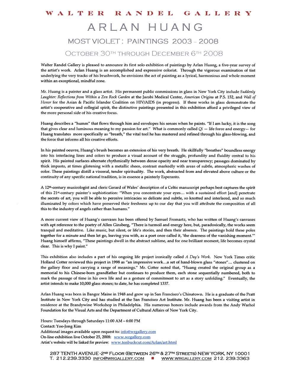 Most Violet, press release