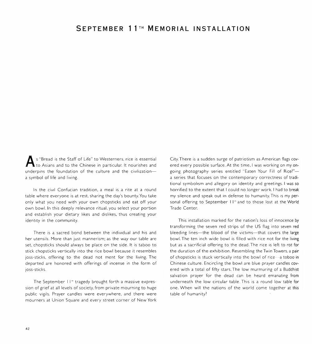 """Essay for """"September 11th Memorial Installation"""", pg 1"""