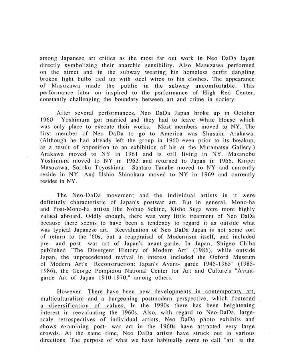 Neo DaDa Japan 1958-1998, essay, pg 5