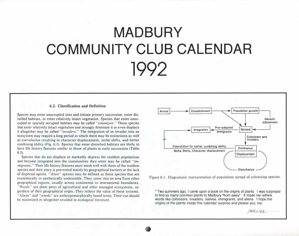 Madbury Calendar, pg 1