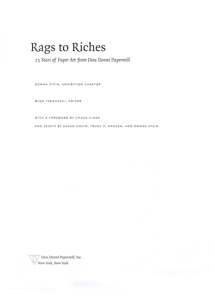 Rags to Riches, catalog, title page