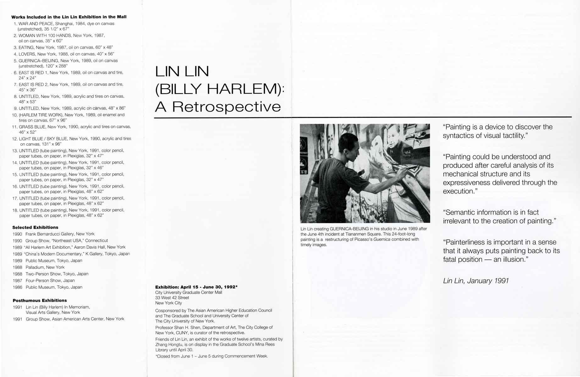 Exhibition Catalog: Lin Lin (Billy Harlem): A Retrospective