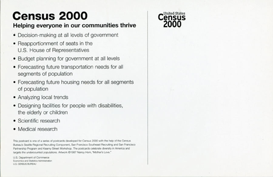 "Exhibition Postcard for ""United States Census 2000"" Mother's Love, 2000"
