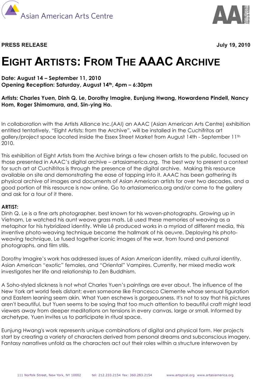 "Exhibition Press Release for ""Eight Artists: From the AAAC Archive"", Asian American Arts Centre, 2010"