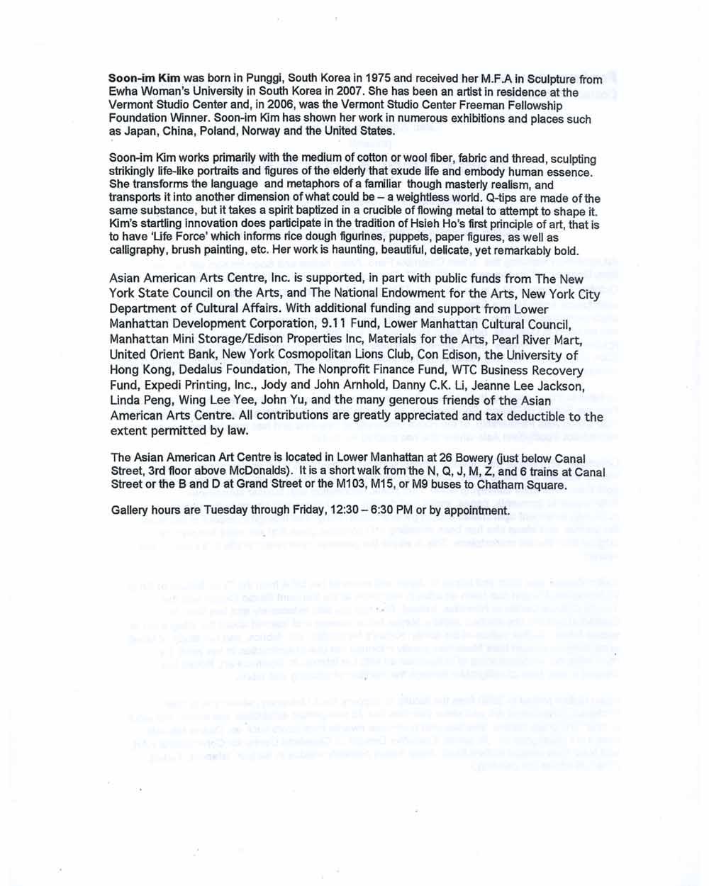 Fibers, press release, pg 2