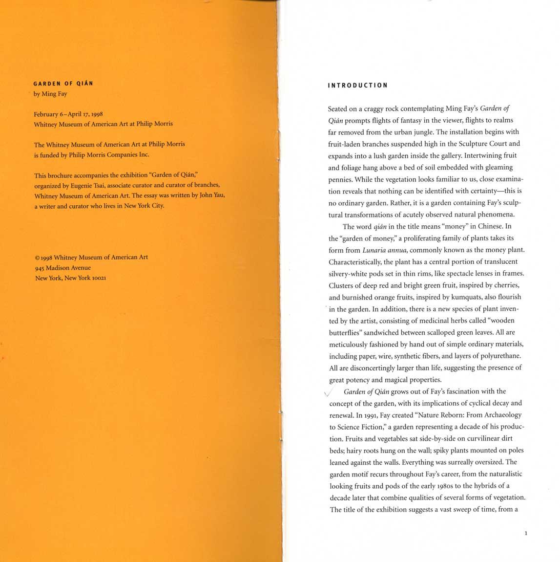 Garden of Qian, brochure, pg 2