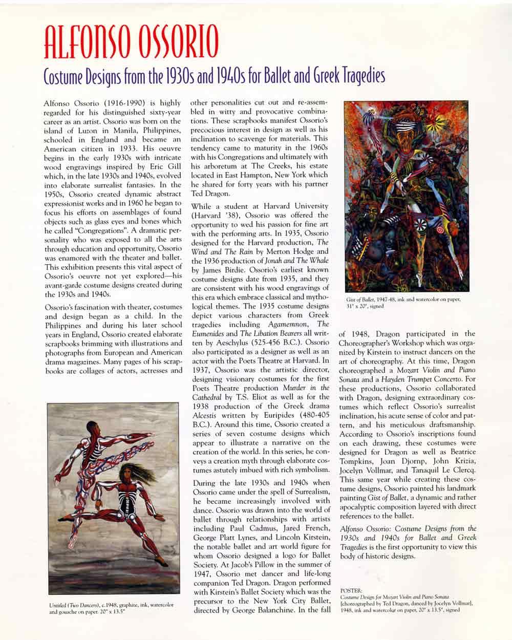 Alfonso Ossorio: Costume Designs, flyer, pg 2