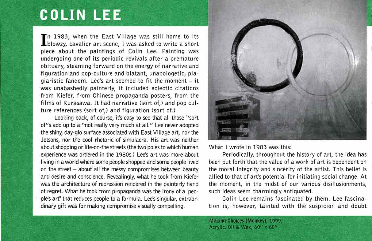 Colin Lee at Mid-Career, flyer, pg 2