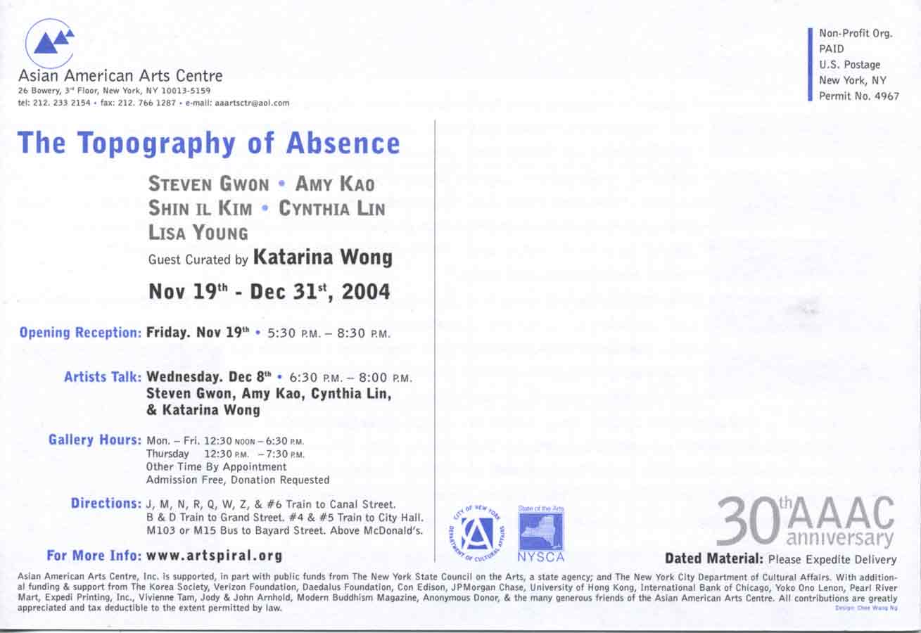 The Topography of Absence, flyer, pg 6