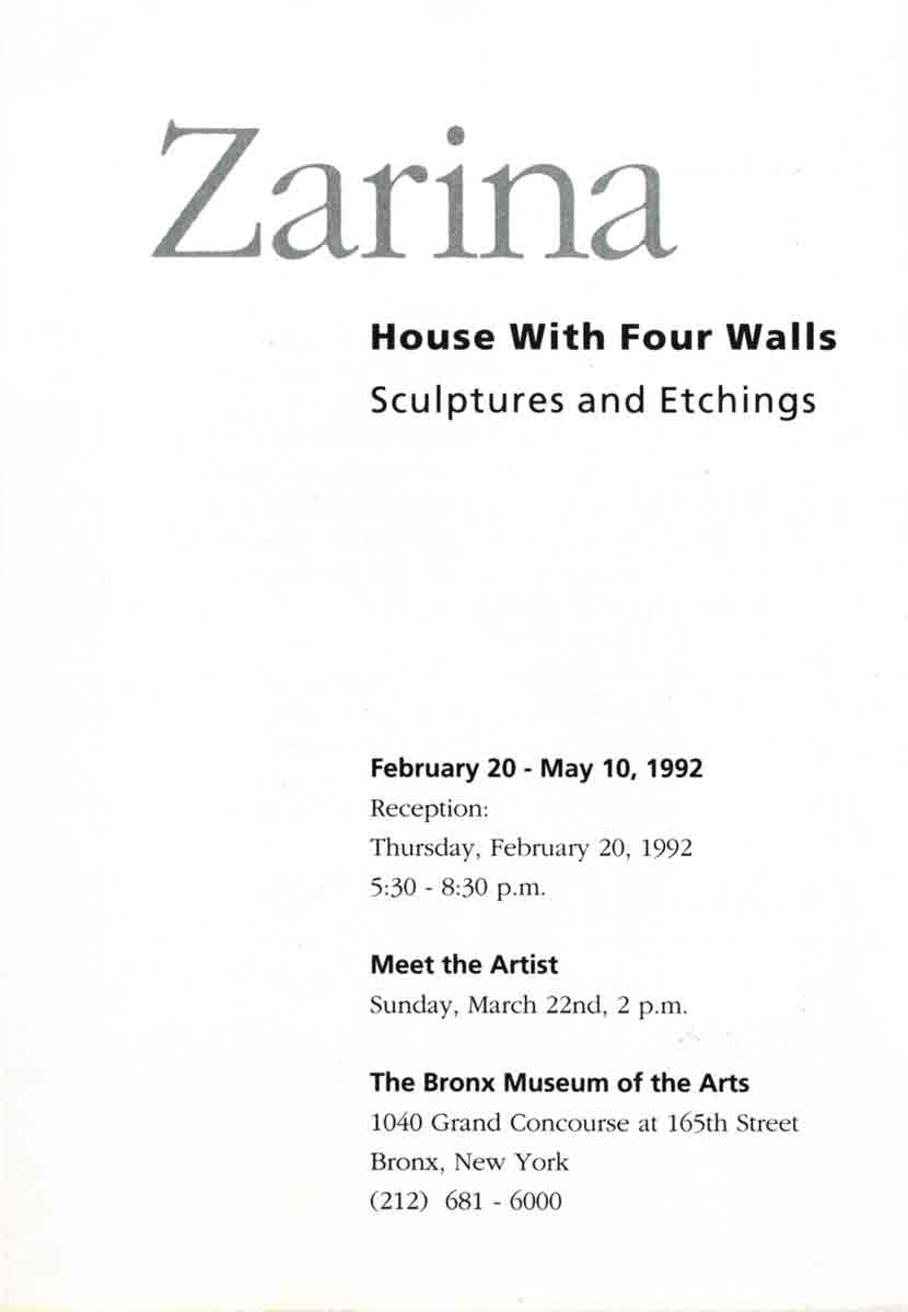 Zarina: House With Four Walls, flyer, pg 3