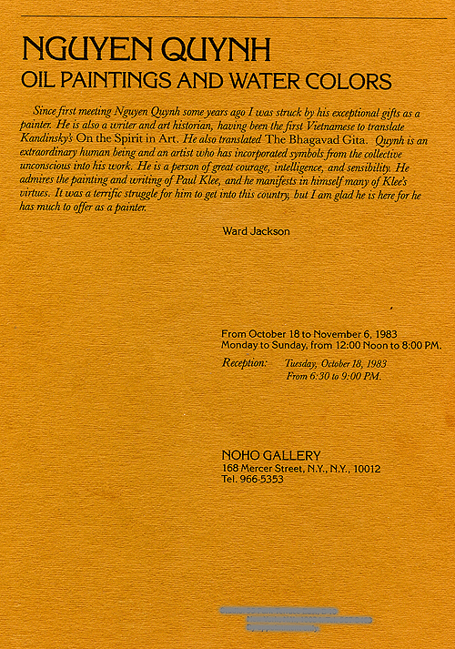 Nguyen Quynh: Oil Paintings and Water Colors, leaflet, pg 1