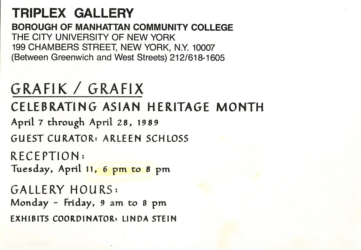 Grafik / Grafix: Celebrating Asian Heritage Month, postcard, pg 2