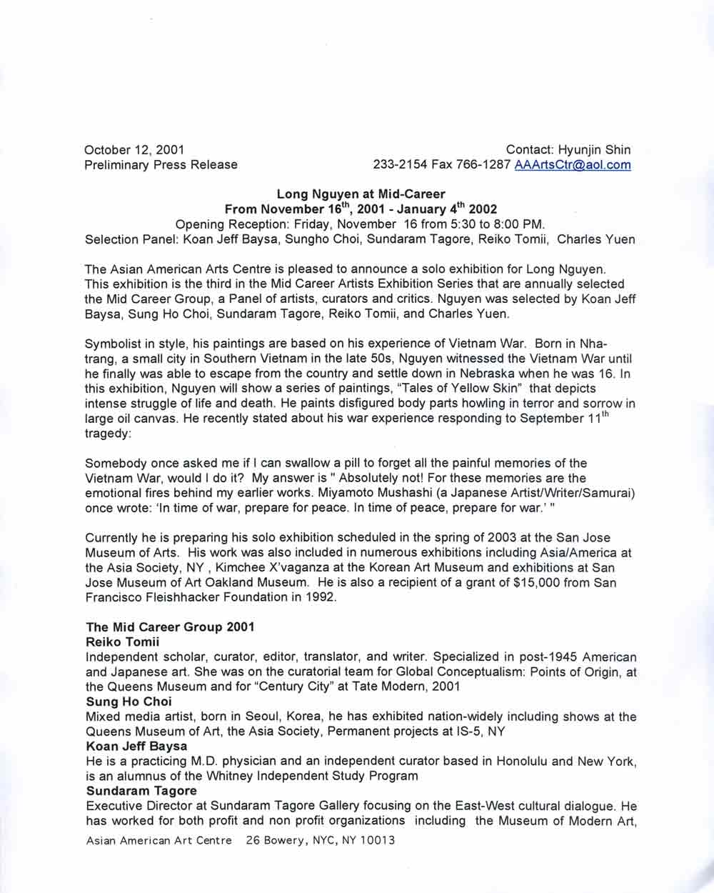 17 Squares press release, pg 1
