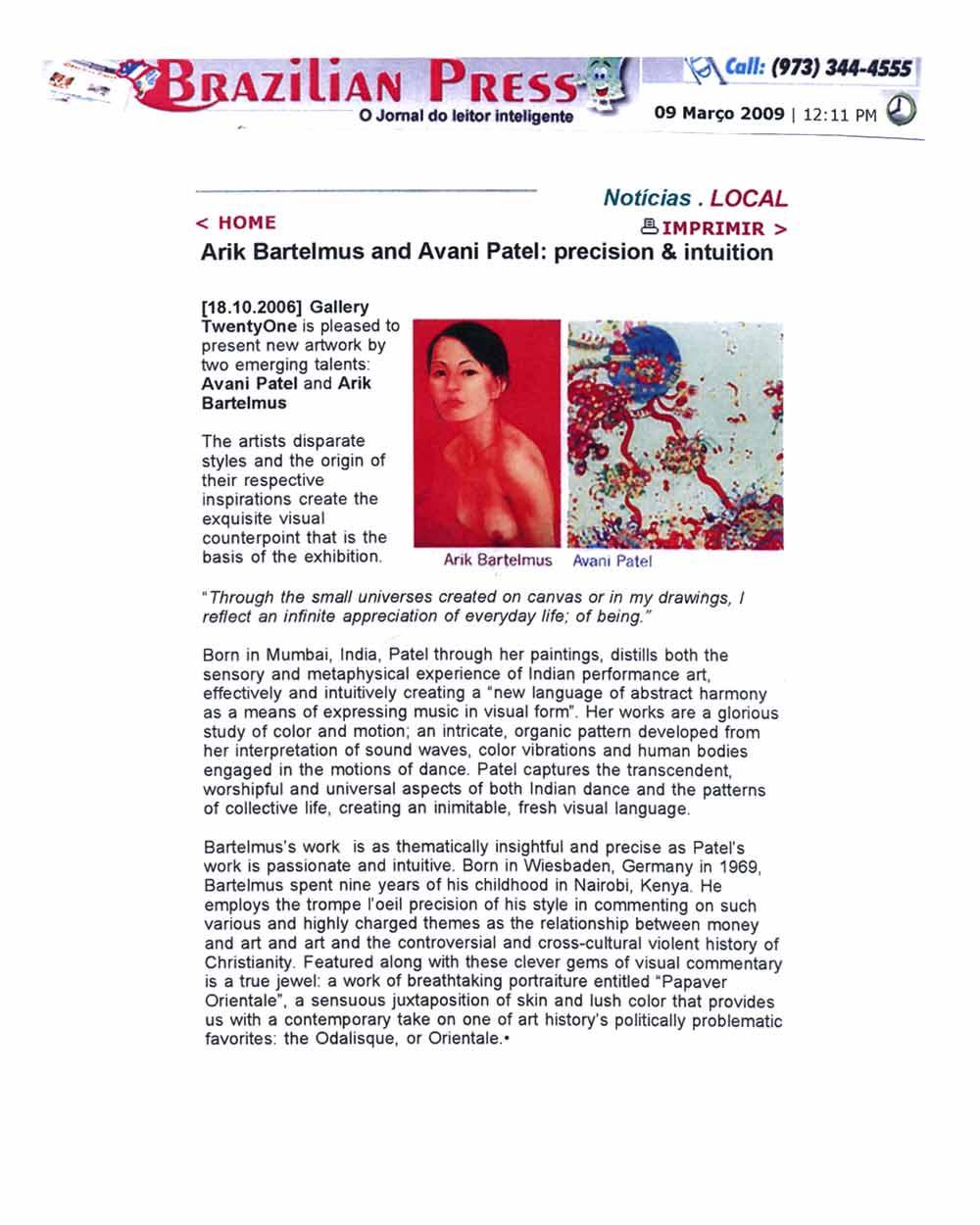 Arik Bartelmus and Avani Patel: precision & intuition, press release