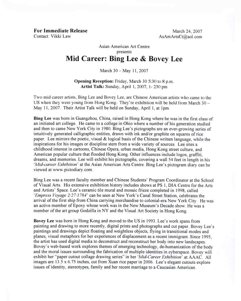 ing Lee/Bovey Lee at Mid-Career, press release, pg 1