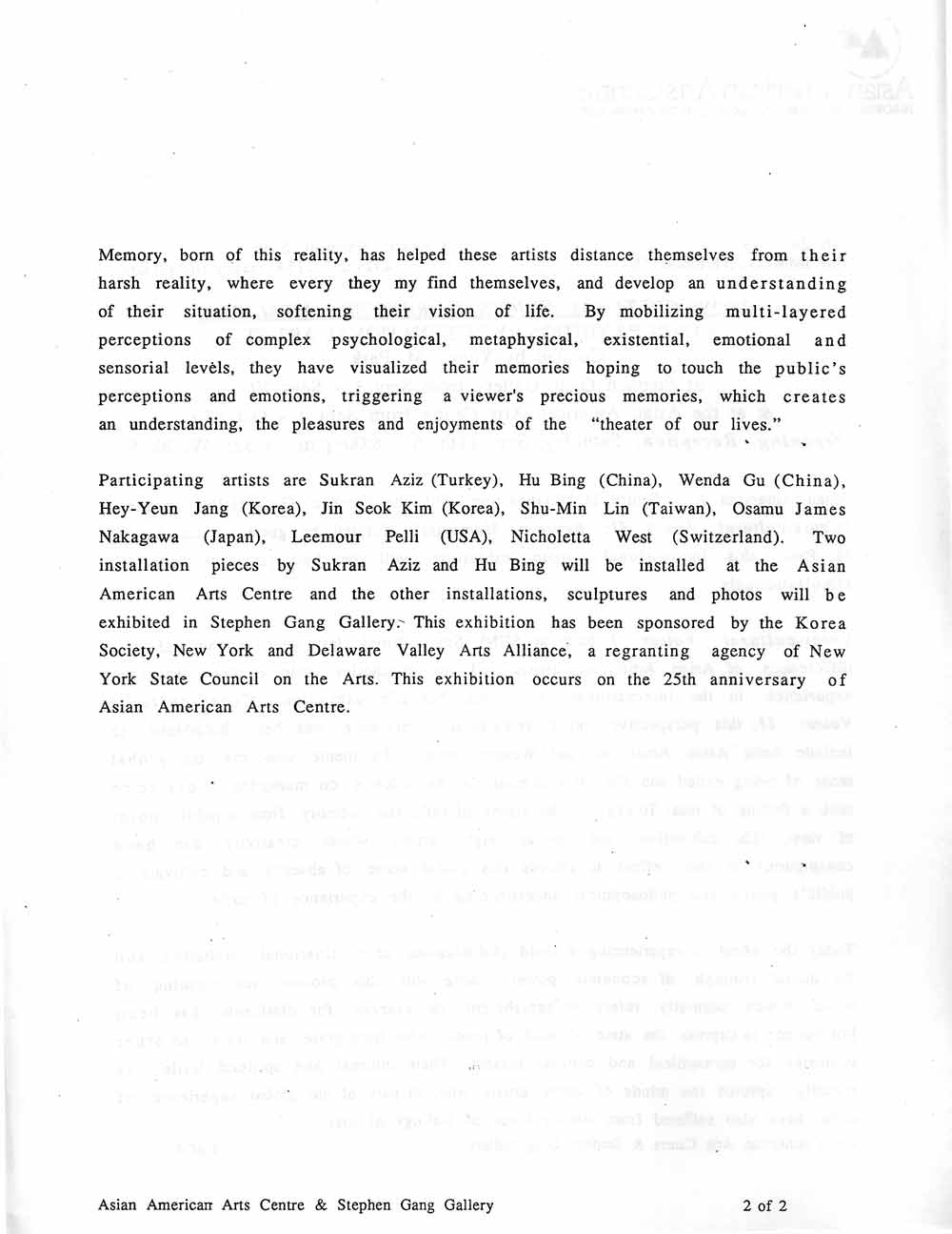 Cross-Cultural Voices II, press release, pg 2
