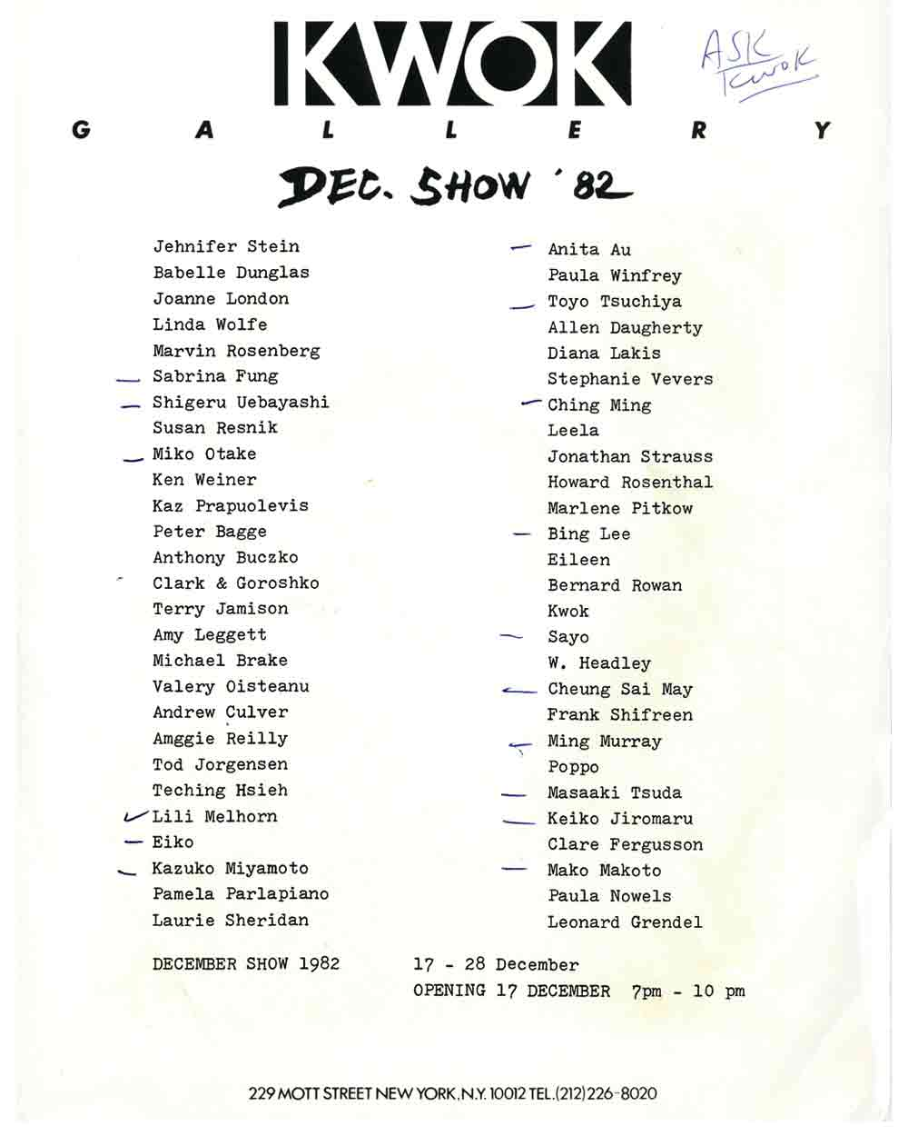 December Show press release, pg 3