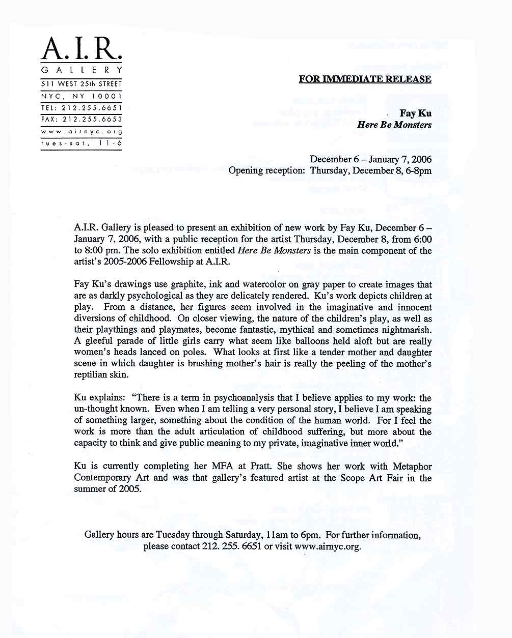 Here Be Monsters, press release, pg 1