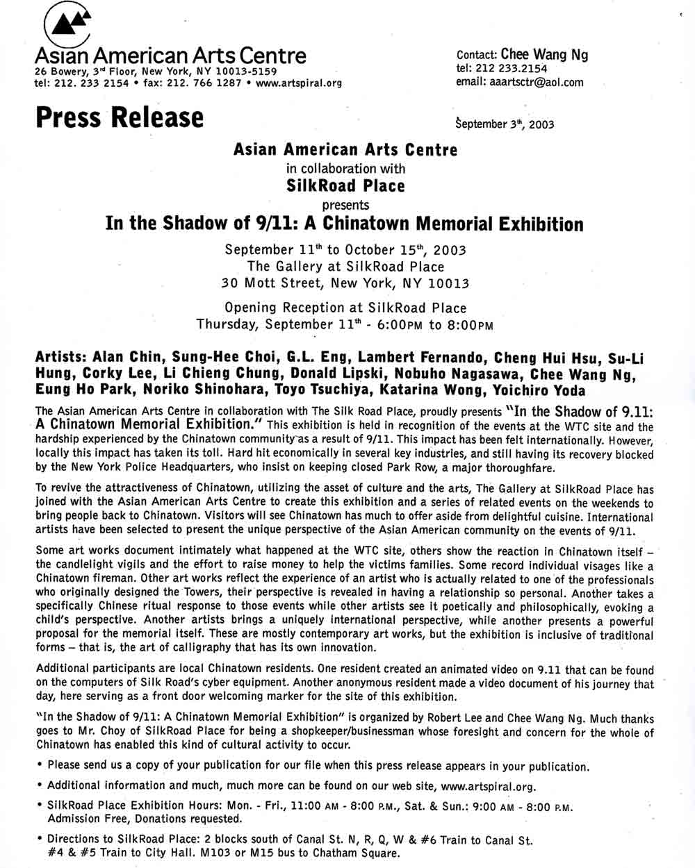 Shadow of 9/11 press release, pg 1
