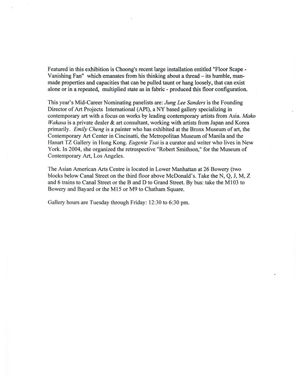Mayumi Terada/Choong Sup Lim, press release, pg 2