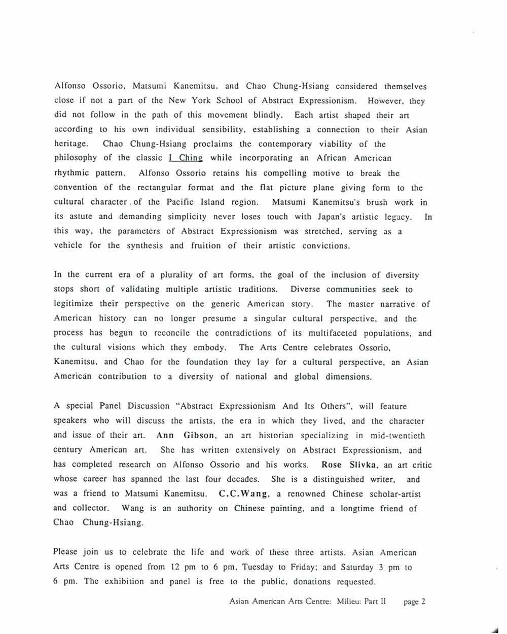 Milieu: Part II 1945-1965, press release, pg 2