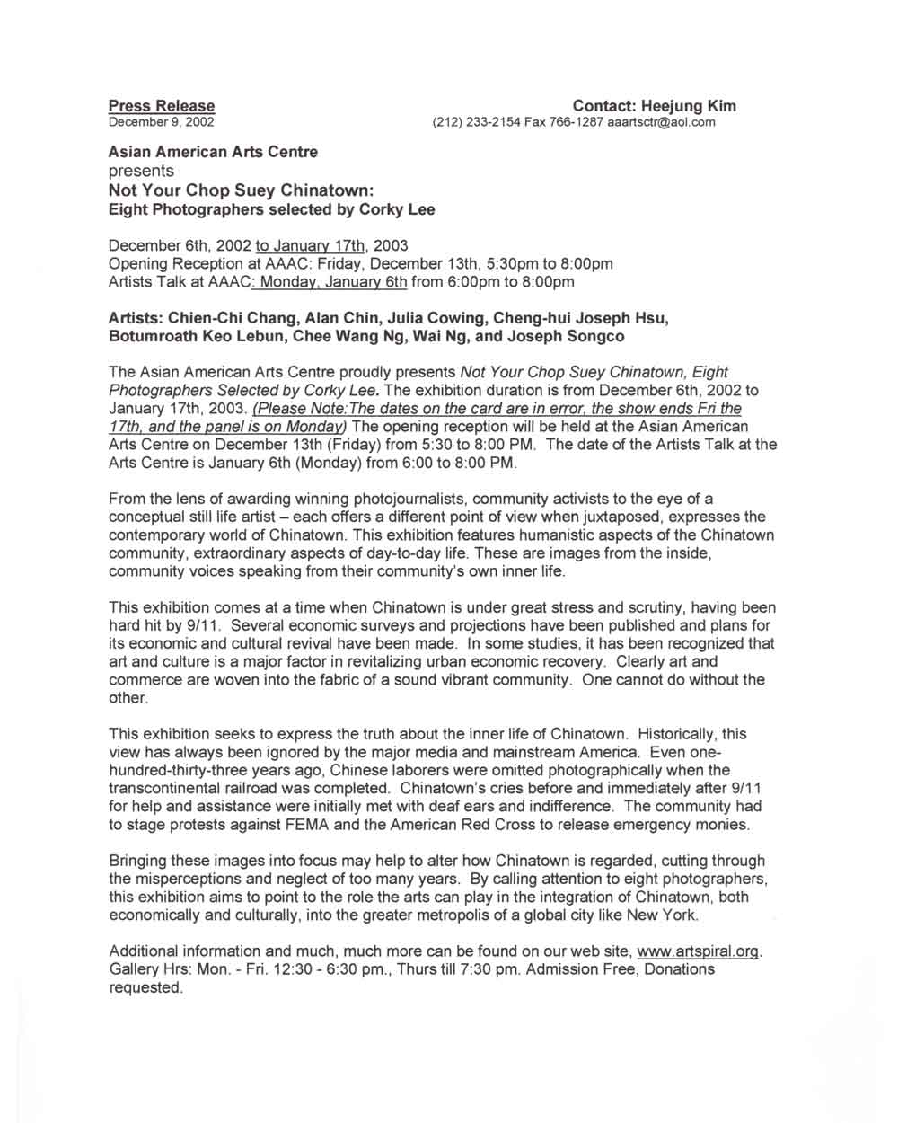 Not Your Chop Suey Chinatown, press release, pg 1