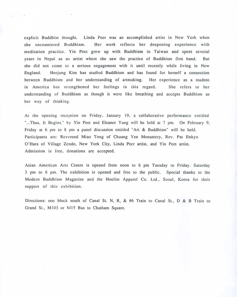 Passion & Compassion, press release, pg 2