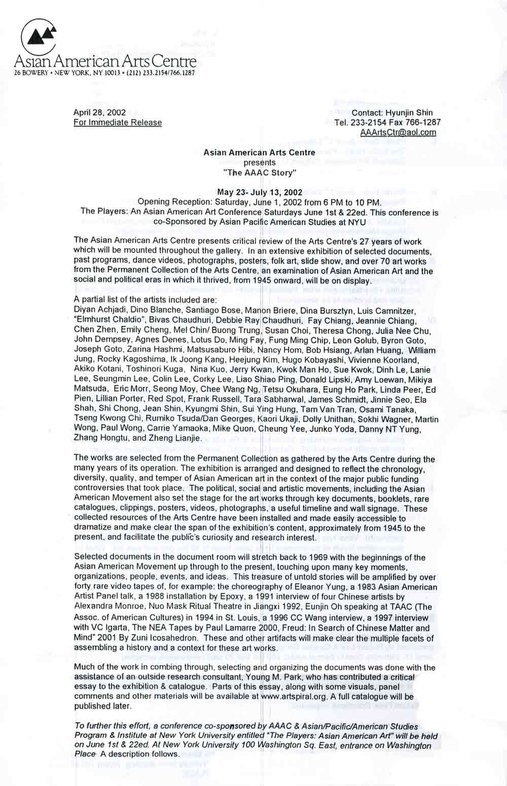 The AAAC Story, press release, pg 1