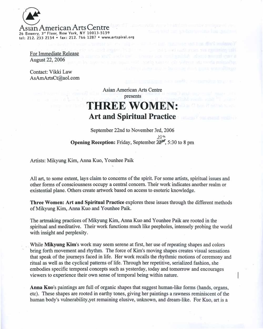 Three Women, press release, pg 1