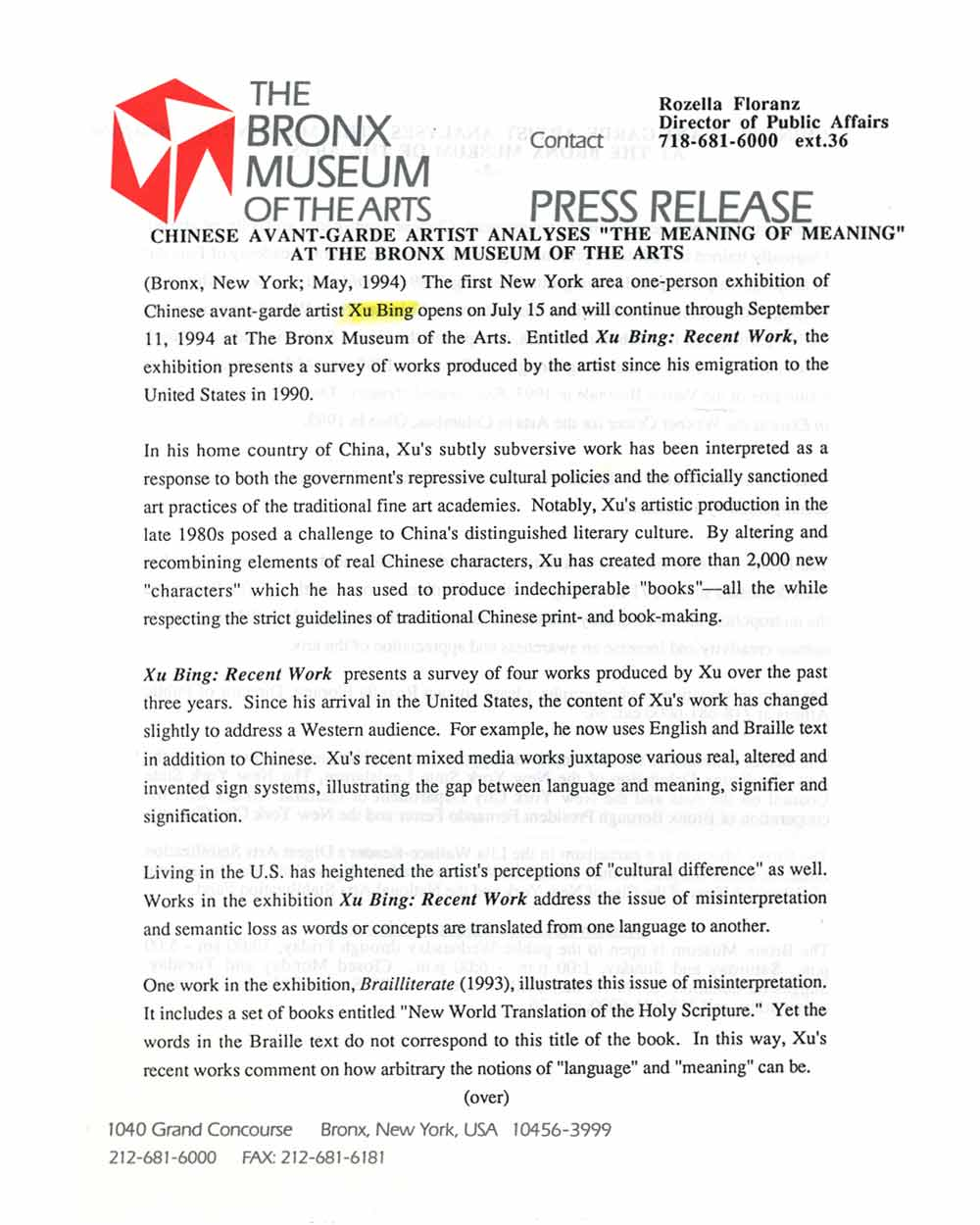 Xu Bing: Recent Work, press release, pg 1