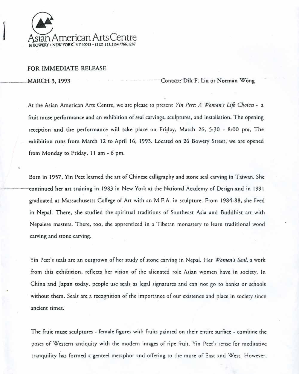 Yin Peet, press release, pg 1