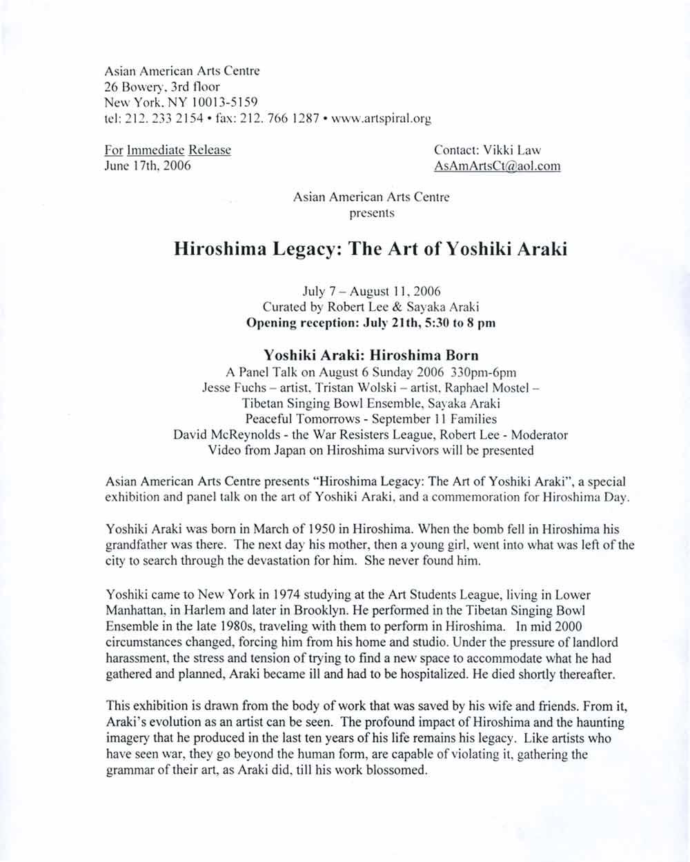 Hiroshima Born press release, pg 1
