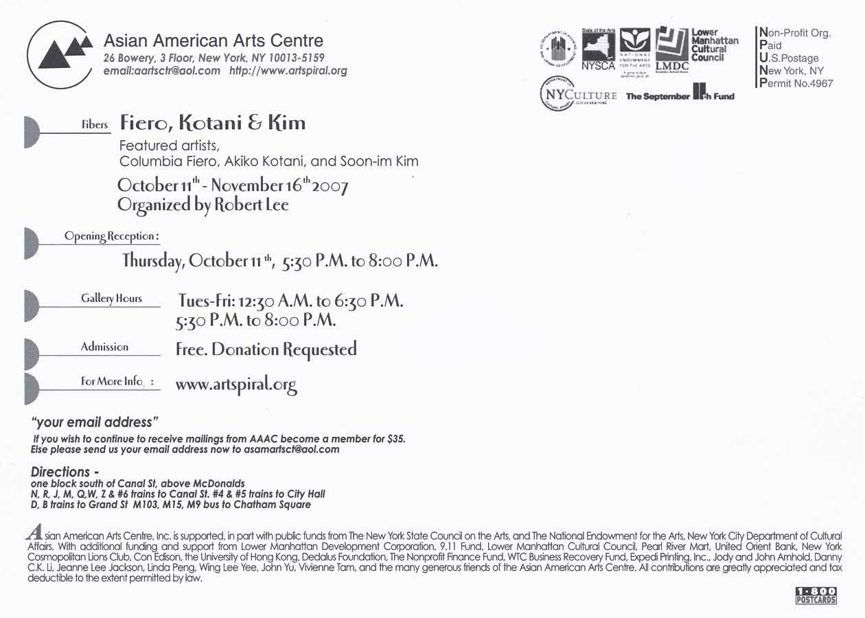 Postcard for exhibition of Fiber Art.