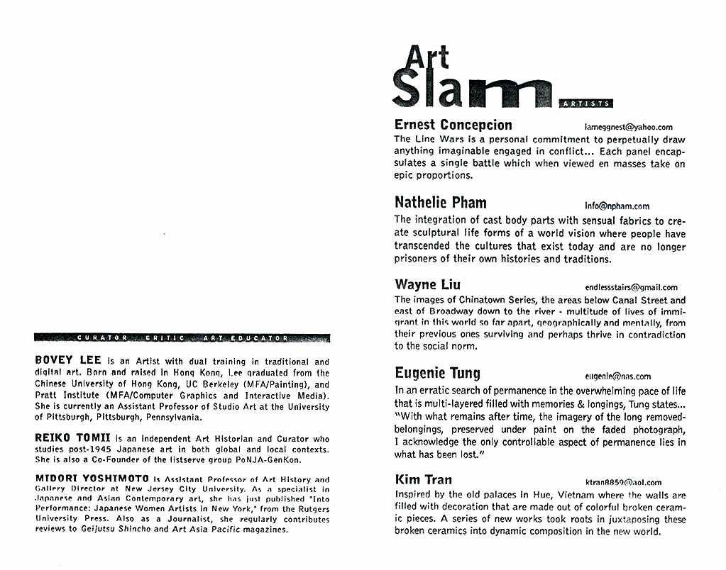 Art Slam: June Series, flyer, pg 2
