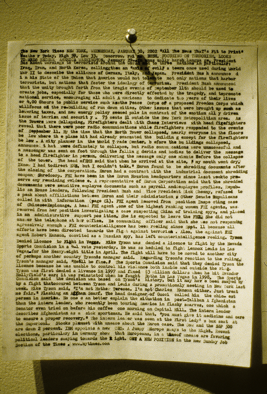 Front Page Typed By Memory  (2002)
