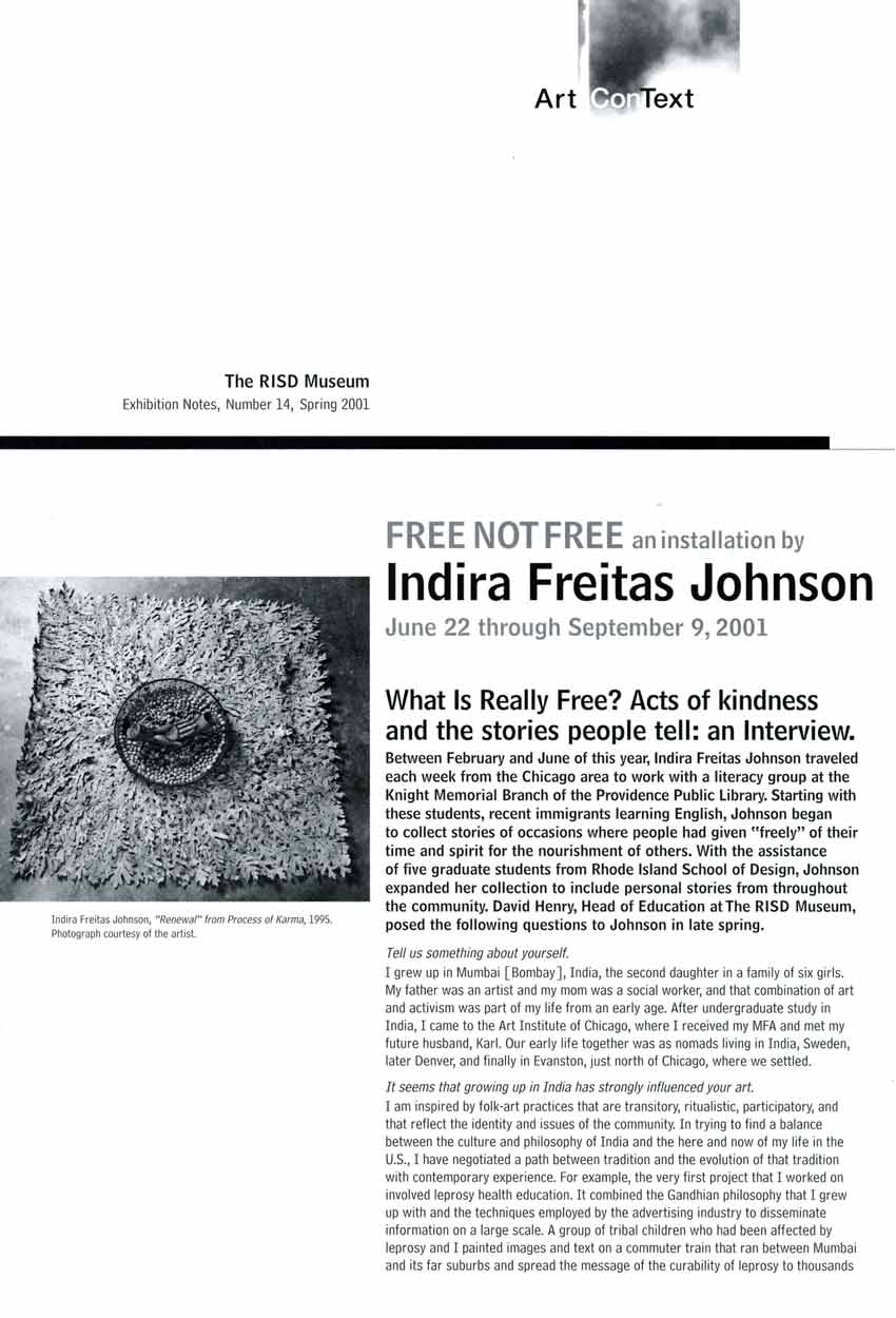 FREE NOT FREE: an installation by Indira Freitas Johnson, interview, pg 1