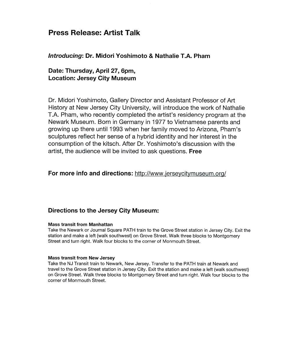 Artist Talk, press release