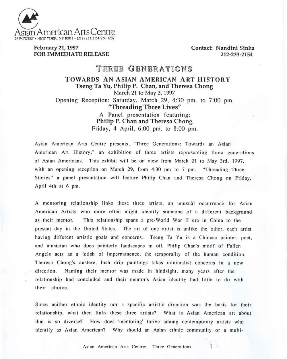 Three Generations press release, pg 1