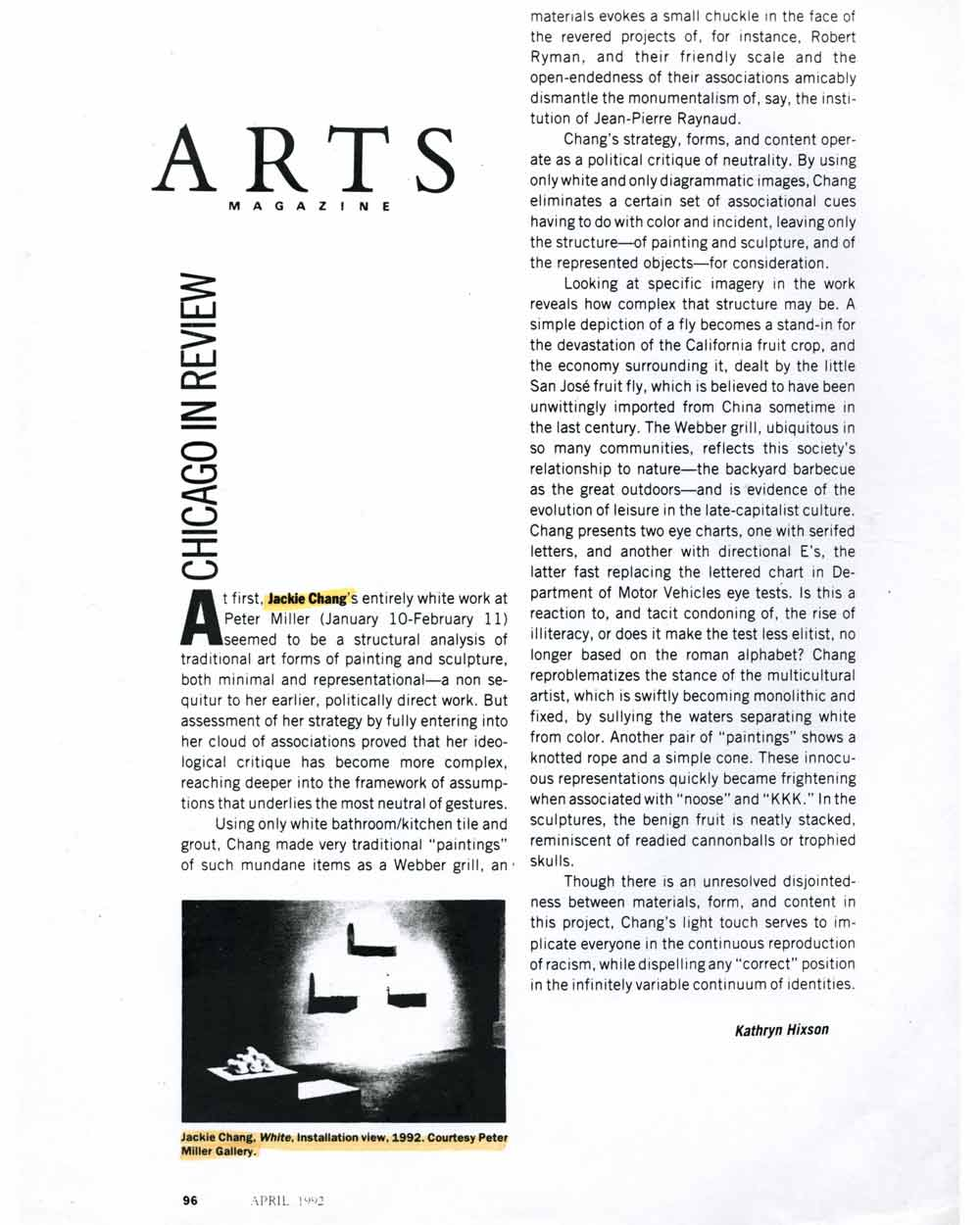Review in ARTS MAGAZINE