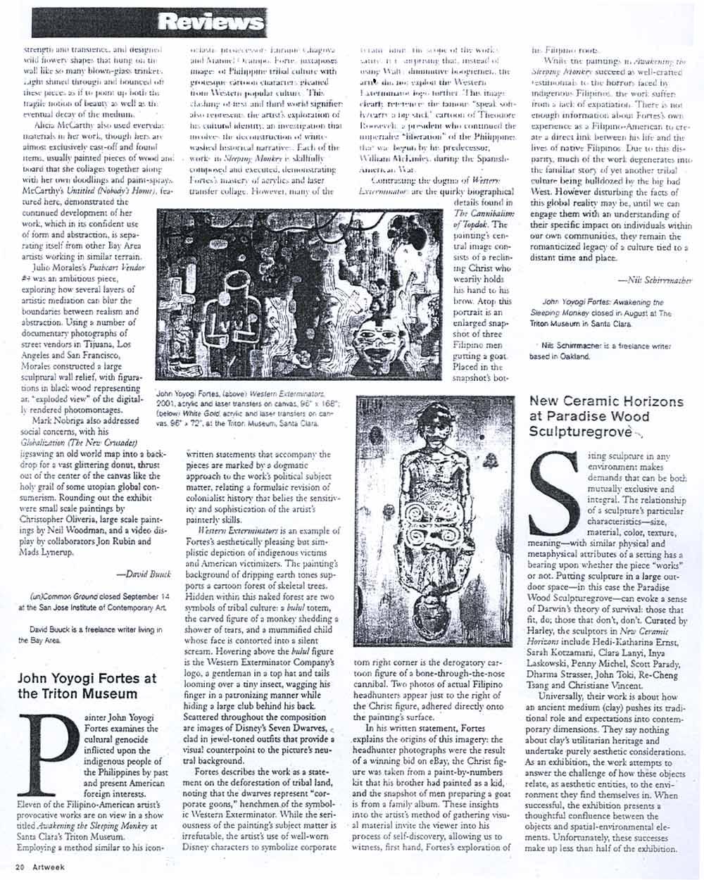 """John Yoyogi Fortes at the Triton Museum, article"