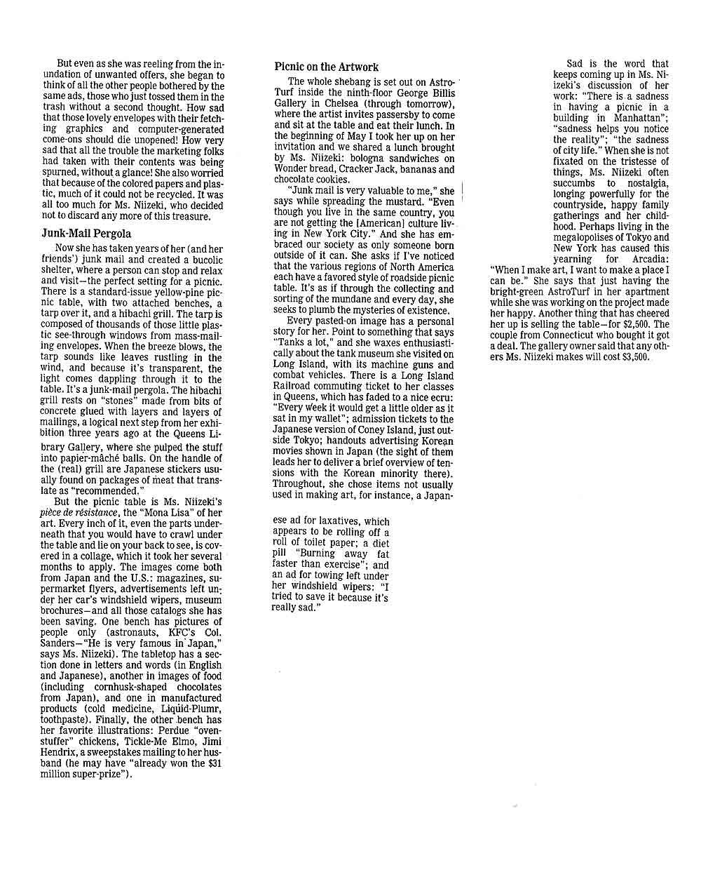 Le Déjeuner sur l'Astro Turf, article, pg 2