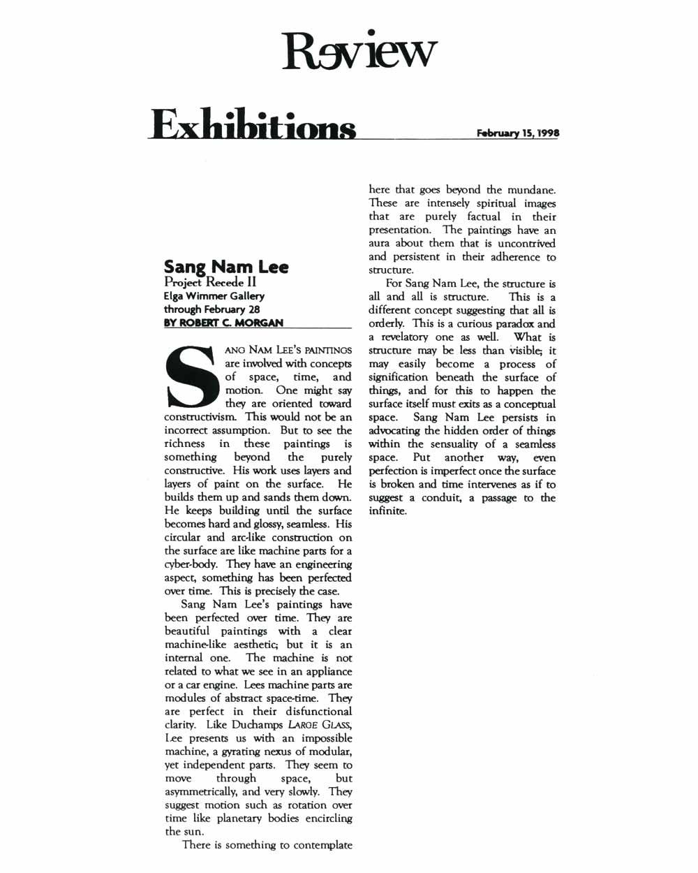 Sang Nam Lee: Project Recede II, article