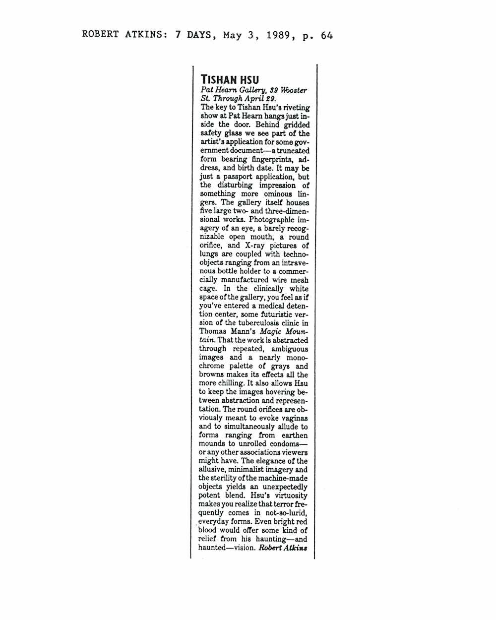 Tishan Hsu, article
